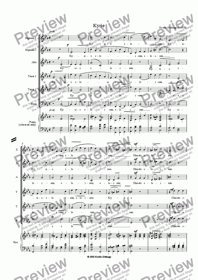 page one of Kyrie - Mass for 6 Voices