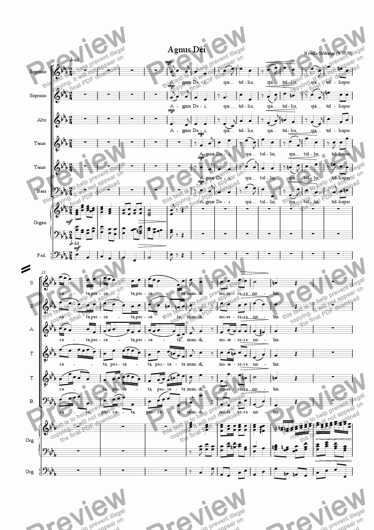 page one of Agnus Dei - Mass for 6 voices