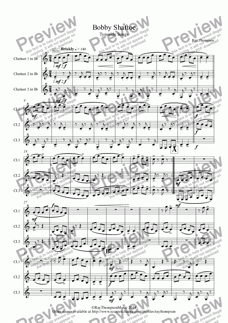 page one of Tyneside Songs: Bobby Shaftoe (arr.clarinet trio)
