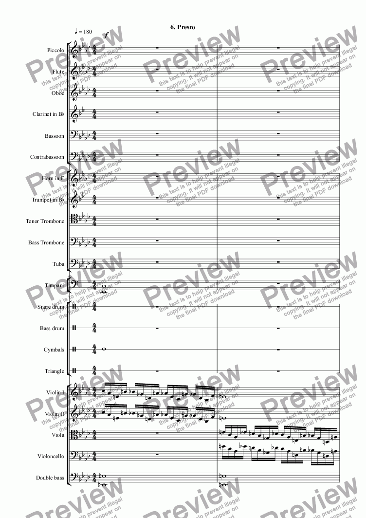 page one of Themes with Variations for Orchestra: 6. PrestoASALTTEXT
