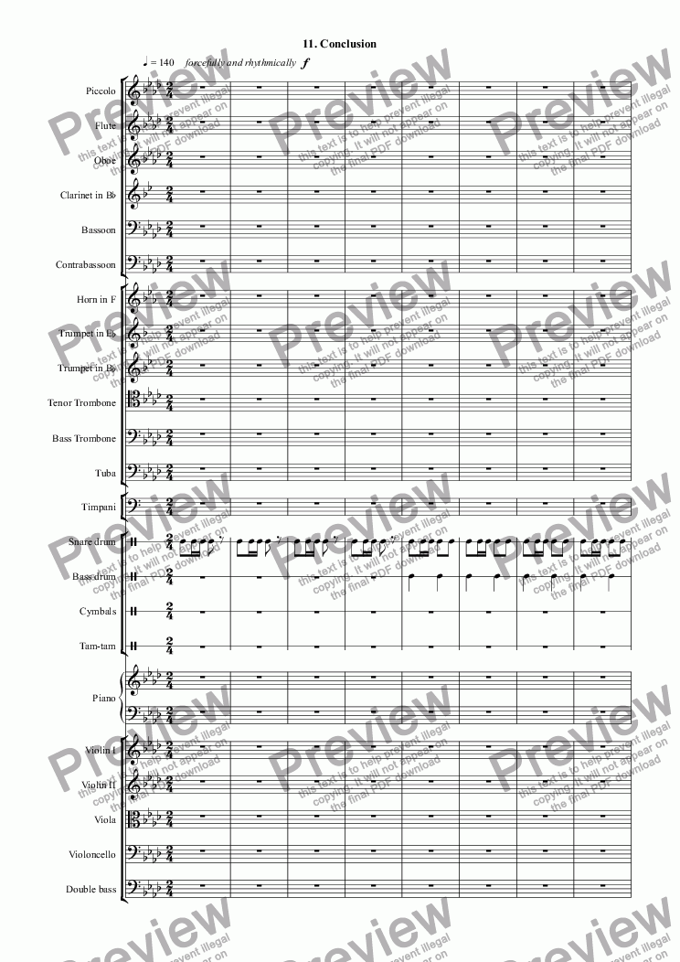 page one of Themes with Variations for Orchestra: 11. ConclusionASALTTEXT