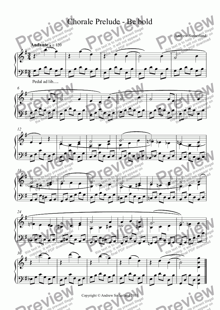 page one of Chorale Prelude - Be bold