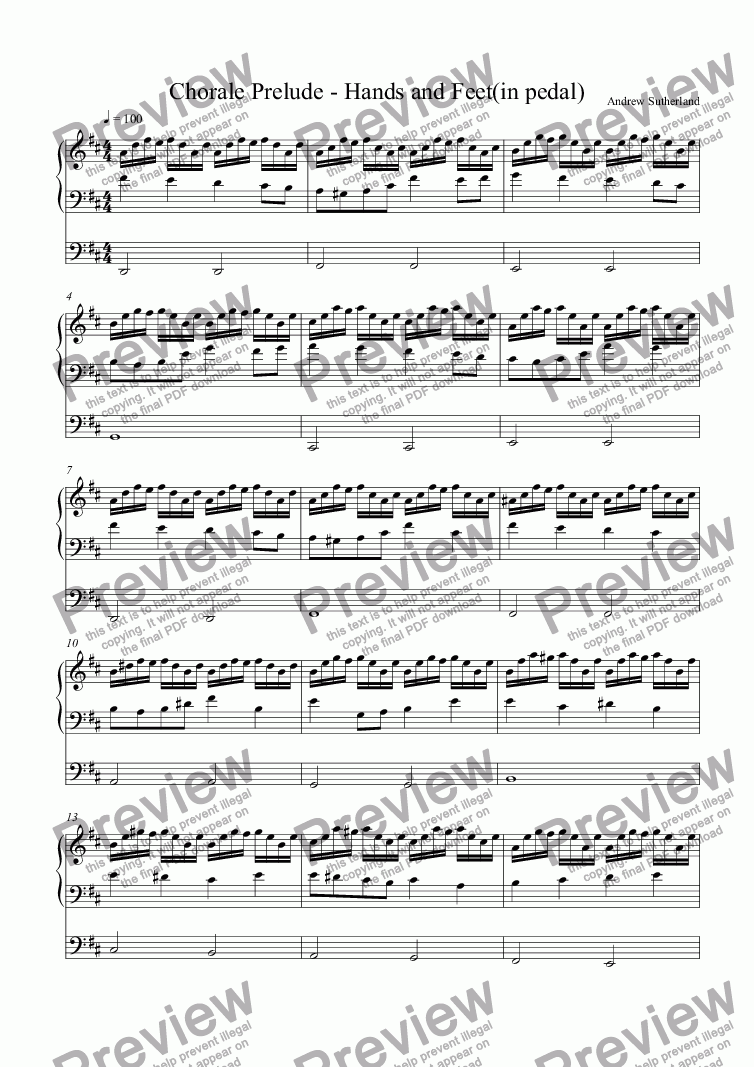 page one of Chorale Prelude - Hands to work and feet to run(1)