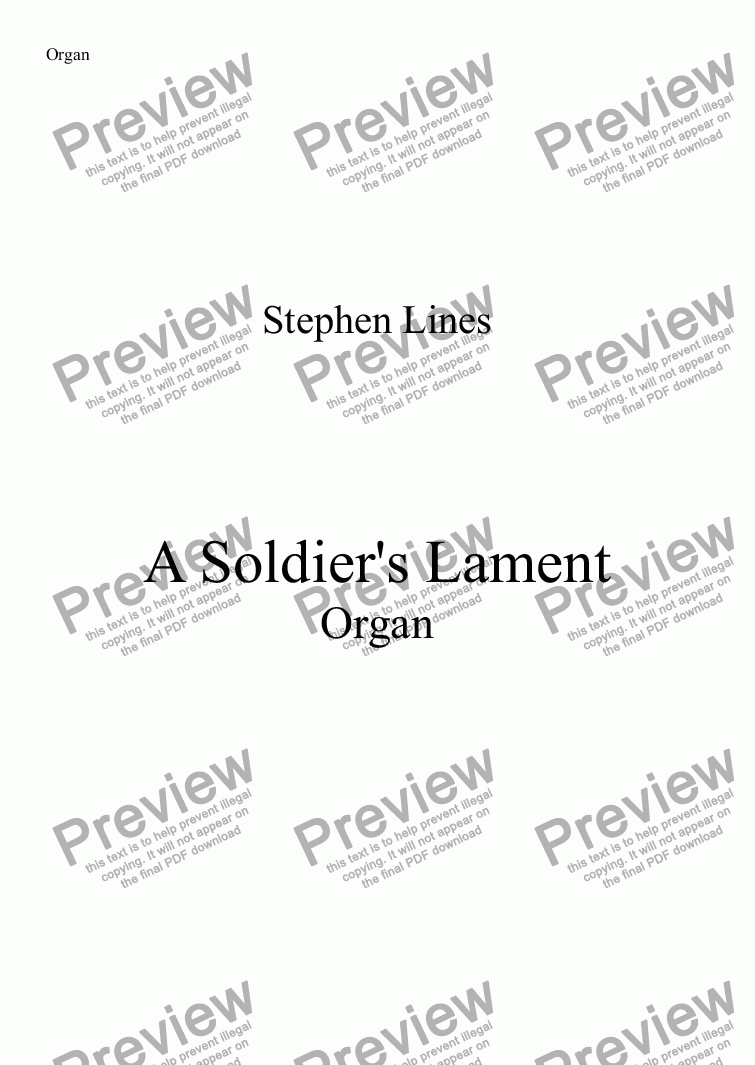 page one of Organ: A Soldier's Lament