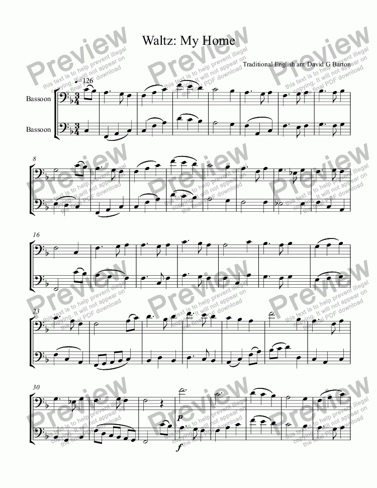 page one of Waltz: My Home for Two Bassoons