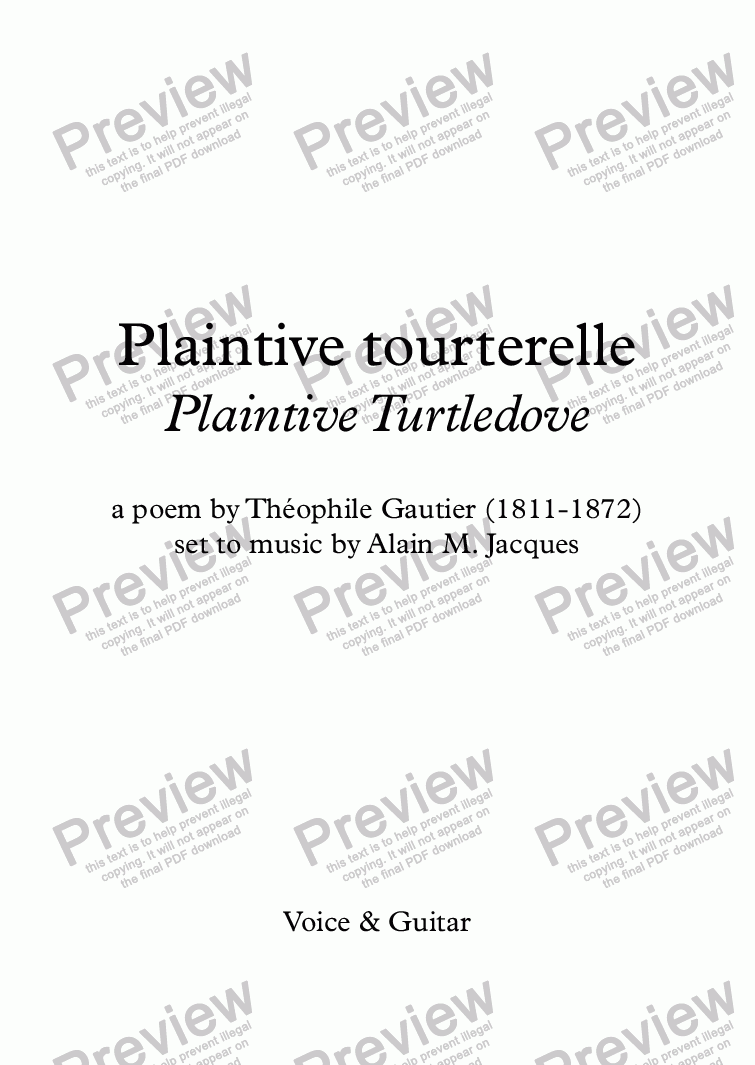 page one of Plaintive tourterelle (A. Jacques / Th. Gautier) - bilingual
