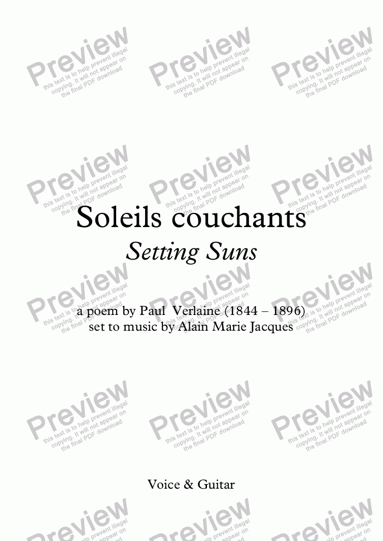 page one of Soleils couchants (A. Jacques / Verlaine) - bilingual