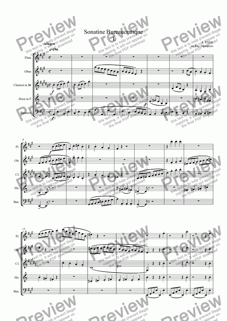 page one of SATIE:Sonatine Bureaucratique (complete) arr. wind quintetASALTTEXT