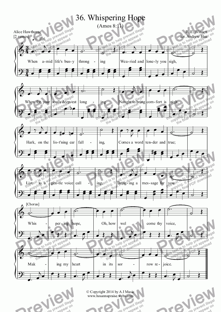 page one of Whispering Hope - Easy Piano 36