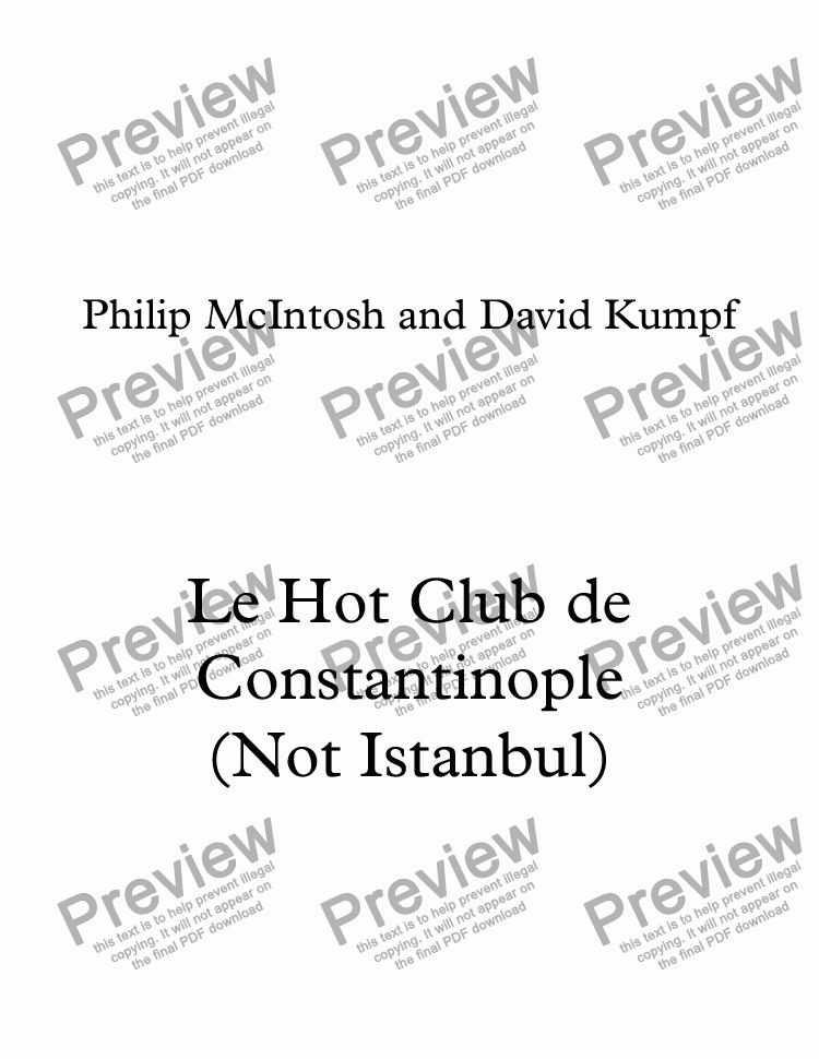 page one of Le Hot Club de Constantinople (Not Istanbul)
