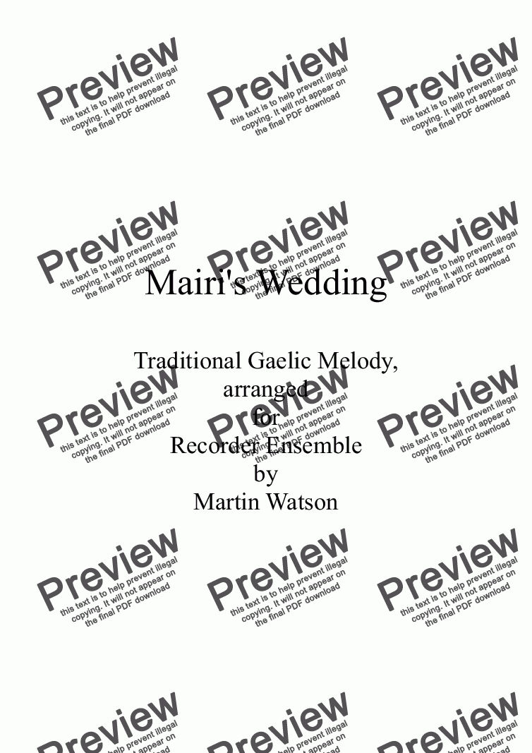 page one of Mairi's Wedding for Recorder Ensemble