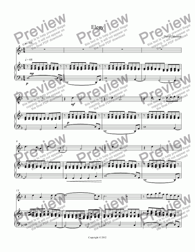page one of Elegy for flute