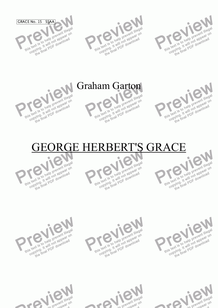 page one of GRACE - No.15 of 252 GARTON GRACES Mainly for  Female Voices but sometimes Mixed.'GEORGE HERBERT'S GRACE' (1593-1632) for SSAA a cappella