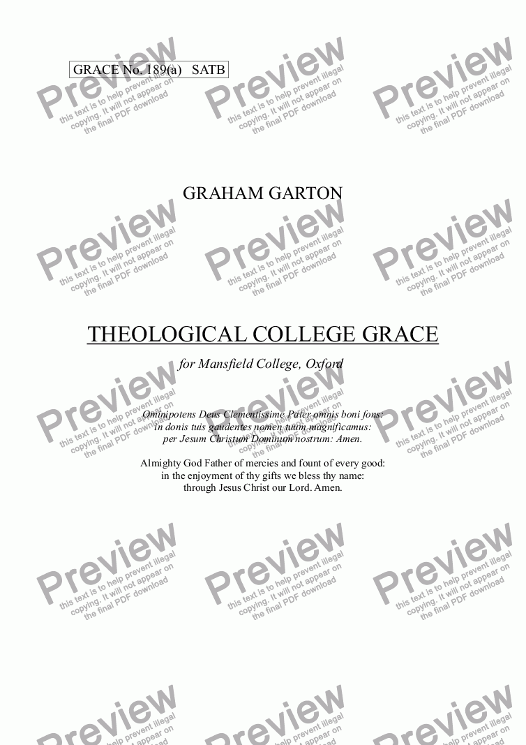 page one of GRACE - No.189a of 252 GARTON GRACES Mainly for  Female Voices but sometimes Mixed. THEOLOGICAL COLLEGE GRACE' Latin Grace for SATB a cappellaASALTTEXT