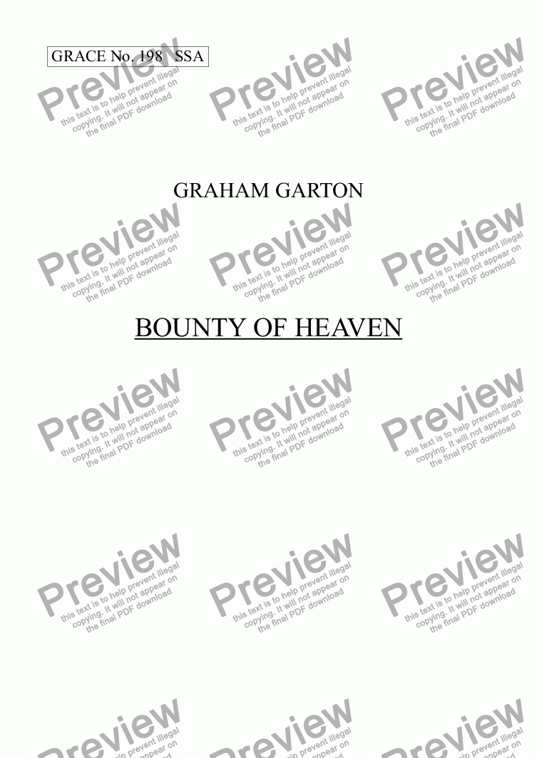page one of GRACE - No.198 of 252 GARTON GRACES Mainly for  Female Voices but sometimes Mixed. 'BOUNTY OF HEAVEN' for SSA a cappella