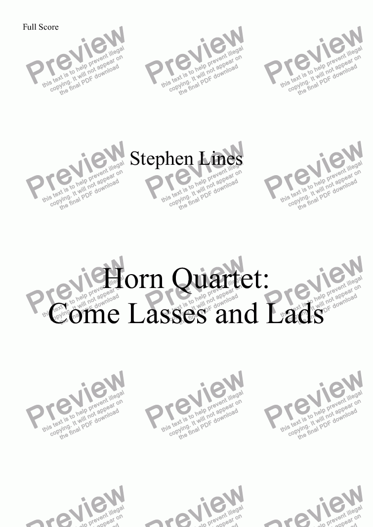 page one of Horn Quartet: Come Lasses and Lads