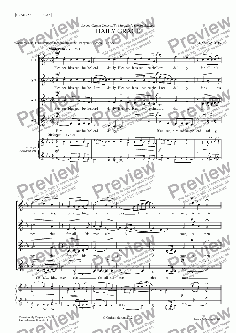 page one of GRACE - No.110 of 252 GARTON GRACES Mainly for  Female Voices but sometimes Mixed. 'DAILY GRACE' SSAA a cappella