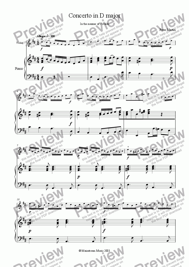 Concerto in D major in the manner of Vivaldi for Solo Solo Violin + piano  by Peter Martin - Sheet Music PDF file to download