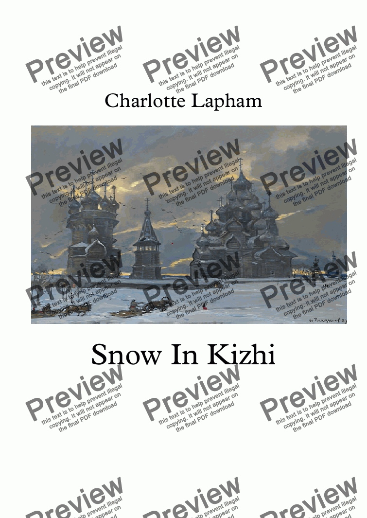 page one of Snow In Kizhi
