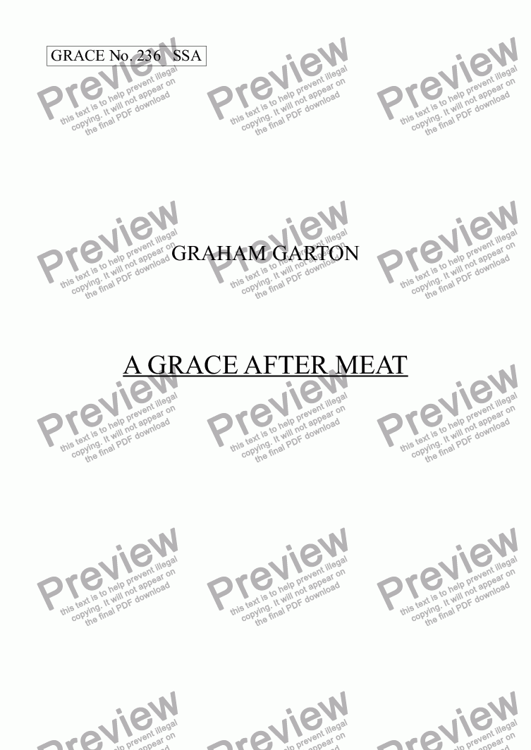 page one of GRACE - No.236 of 252 GARTON GRACES Mainly for  Female Voices but sometimes Mixed.A GRACE AFTER MEAT SSA a cappella