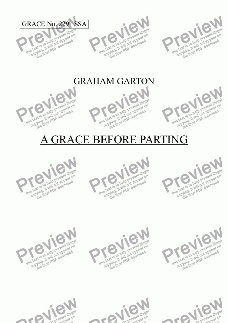 page one of GRACE - No.229 of 252 GARTON GRACES Mainly for  Female Voices but sometimes Mixed. 'A GRACE BEFORE PARTING' SSA a cappella