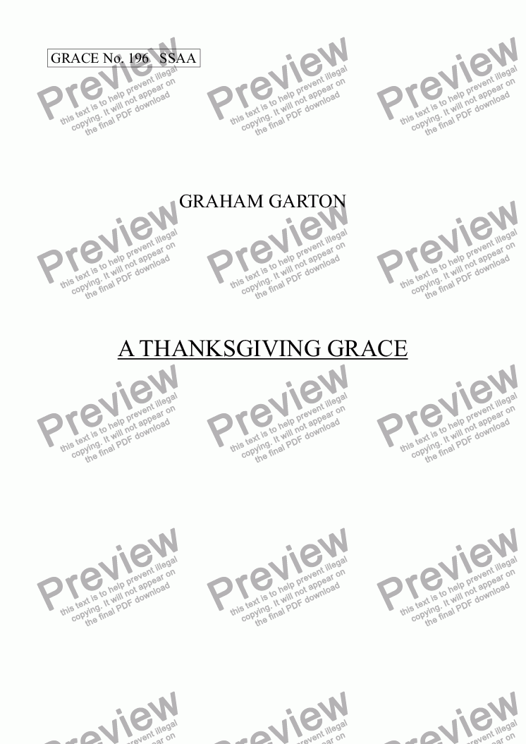 page one of GRACE - No.196 of 252 GARTON GRACES Mainly for  Female Voices but sometimes Mixed. 'A THANKSGIVING GRACE' SSAA a cappella