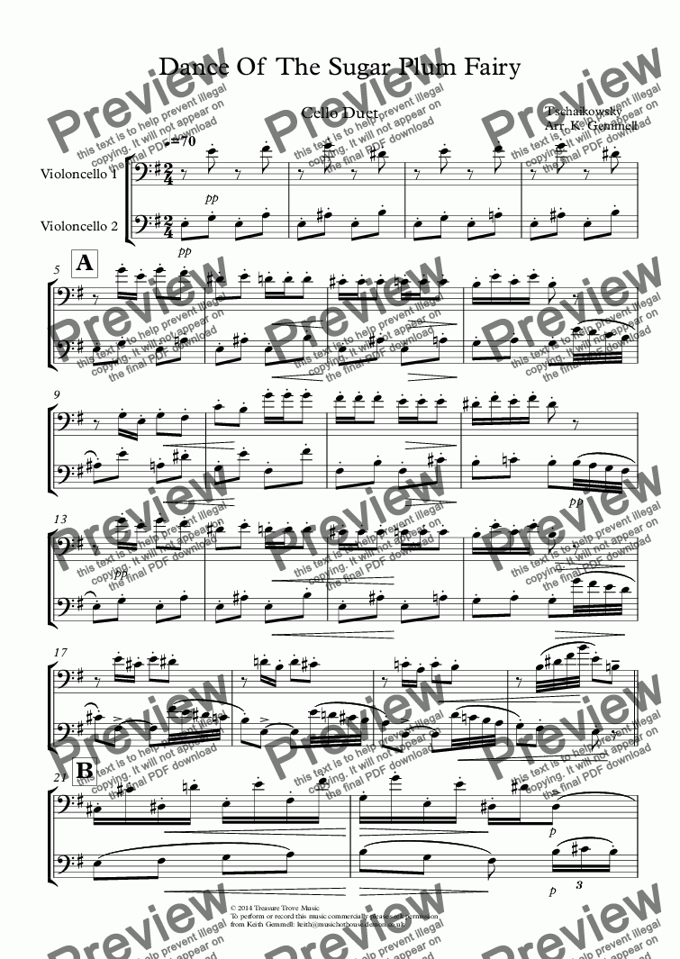 page one of Dance Of  The Sugar Plum Fairy: Cello Duet