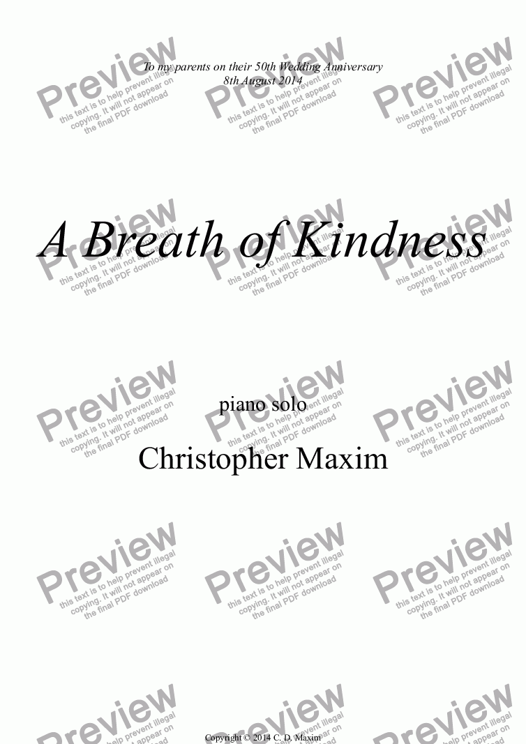 page one of A Breath of Kindness (Piano solo)