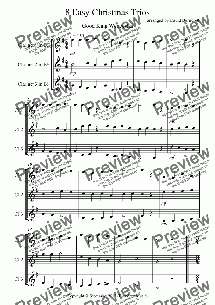 page one of 8 Easy Christmas Trios for Clarinet
