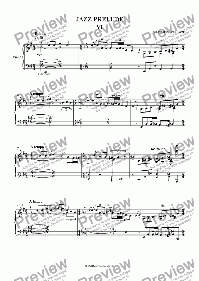 page one of Jazz Prelude no.6