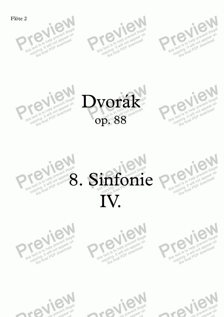 page one of Dvořák, Sinfonie Nr. 8 op. 88, IV. Allegro ma non troppo – fl2