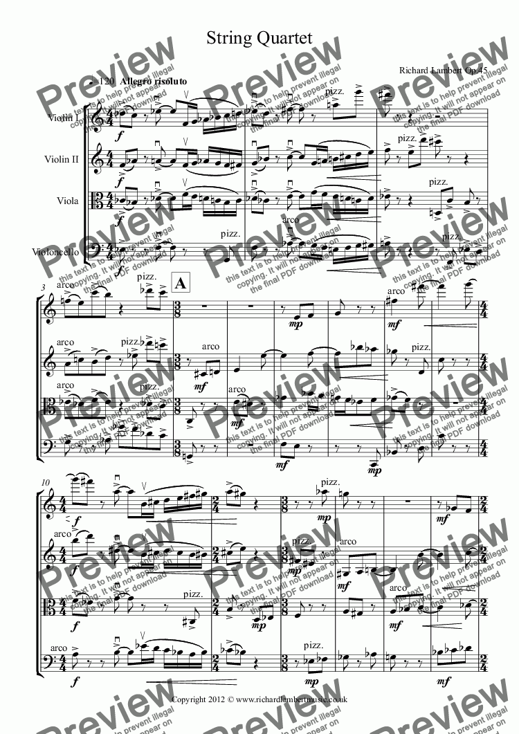 page one of String Quartet No 1