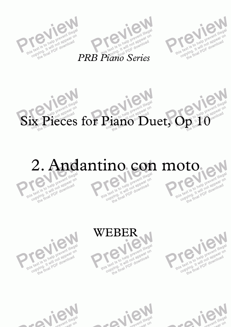 page one of PRB Piano Series: Six Pieces for Piano Duet - (2) Andantino