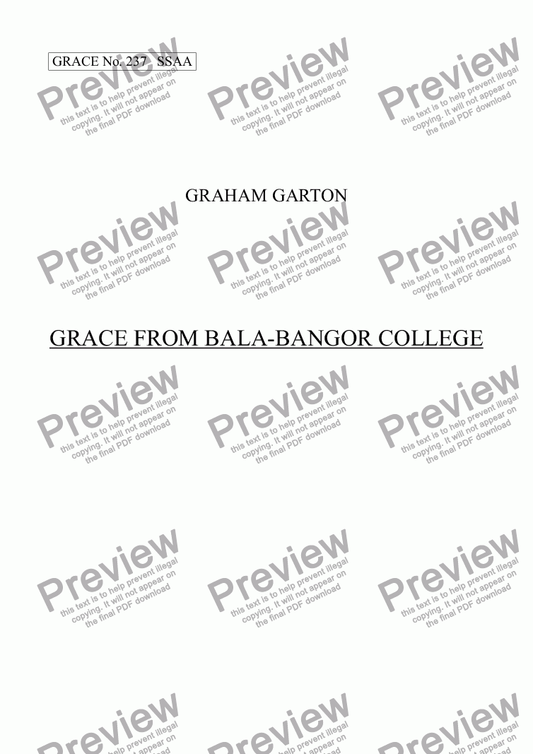 page one of GRACE - No.237 of 252 GARTON GRACES Mainly for  Female Voices but sometimes Mixed. 'GRACE FROM BALA-BANGOR COLLEGE' for SSAA a cappella