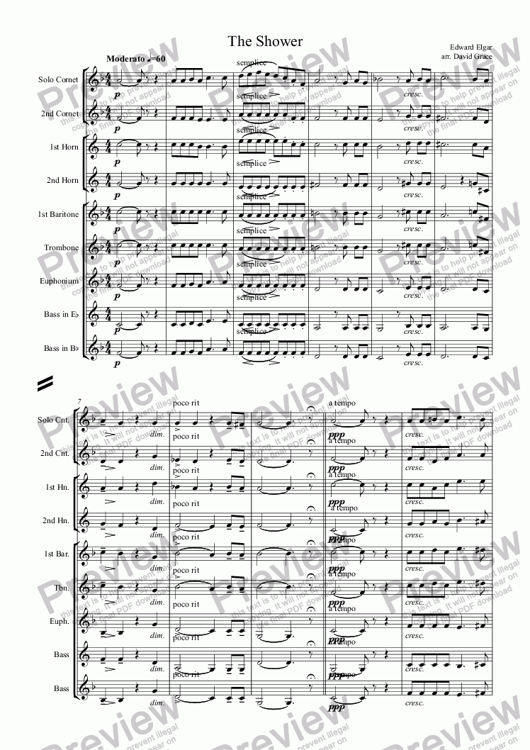 page one of The Shower [Elgar]