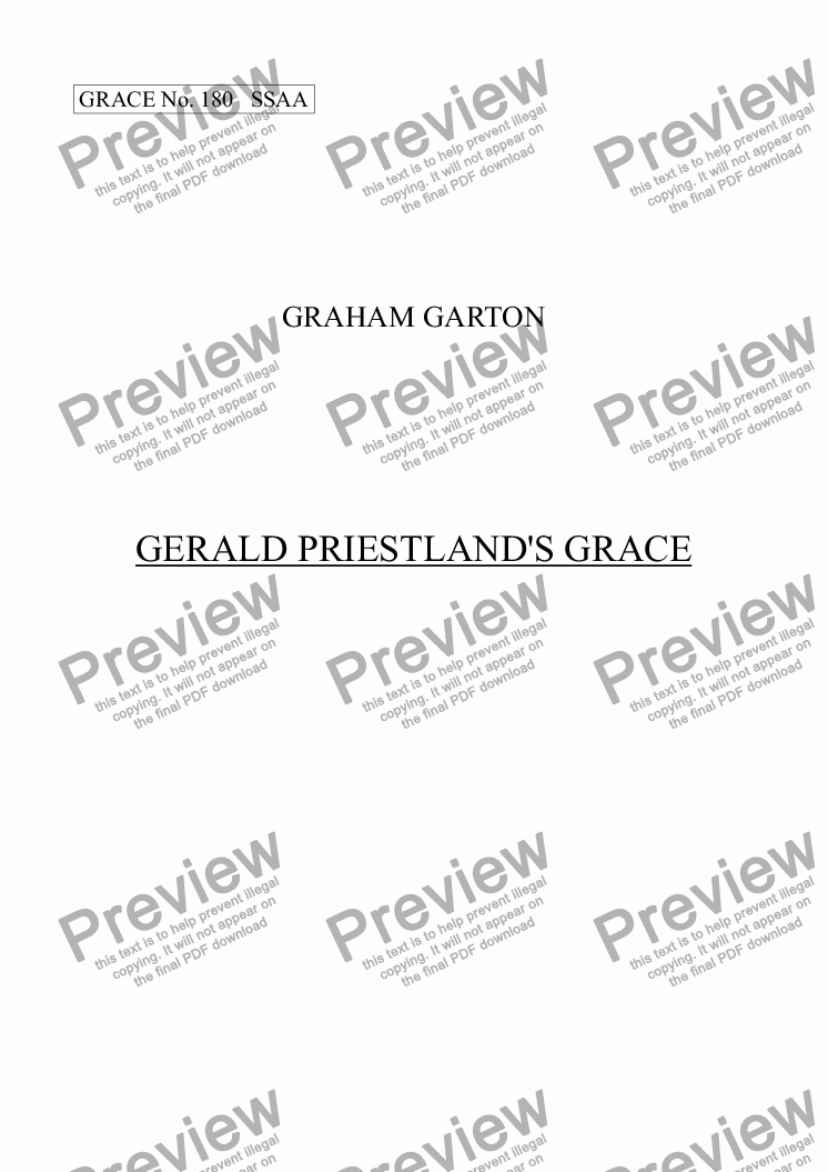 page one of GRACE - No.180 of 252 GARTON GRACES Mainly for  Female Voices but sometimes Mixed. 'GERALD PRIESTLAND'S GRACE' for SSAA a cappella