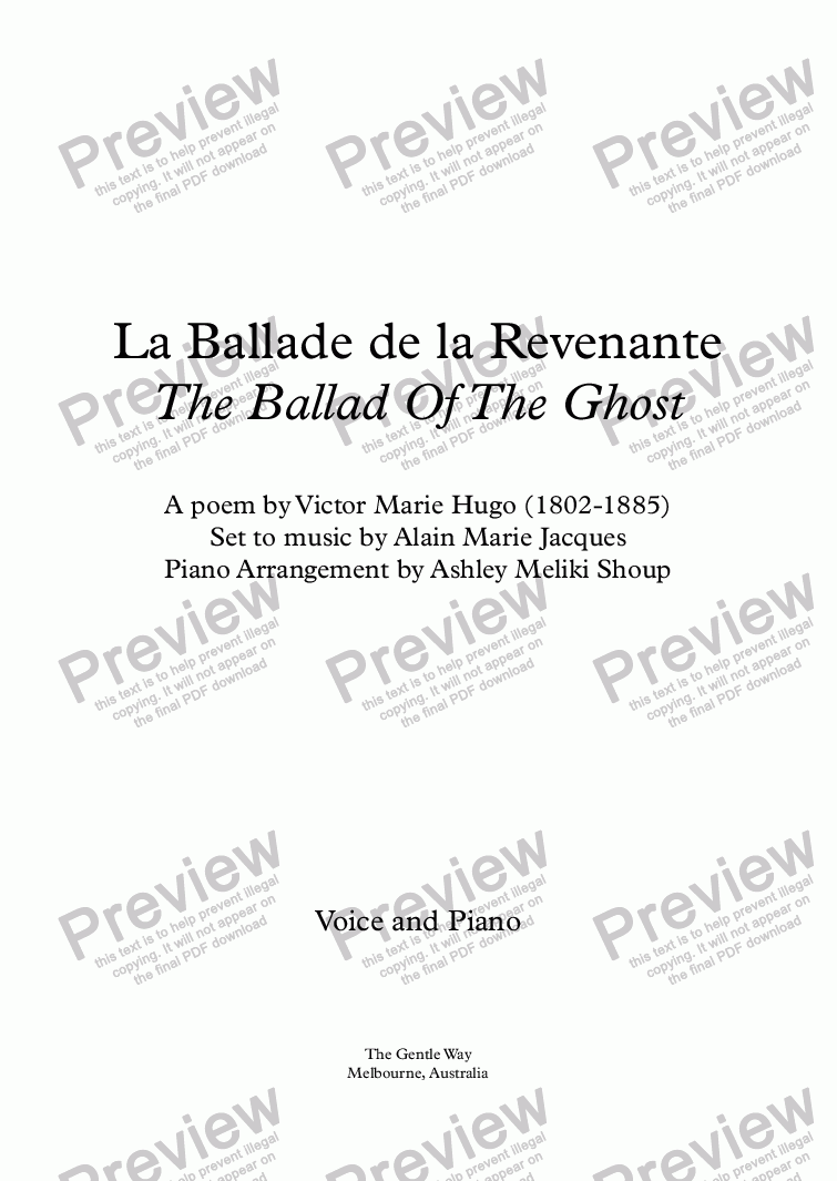 page one of La ballade de la revenante (A. Jacques / Victor Hugo) - bilingual