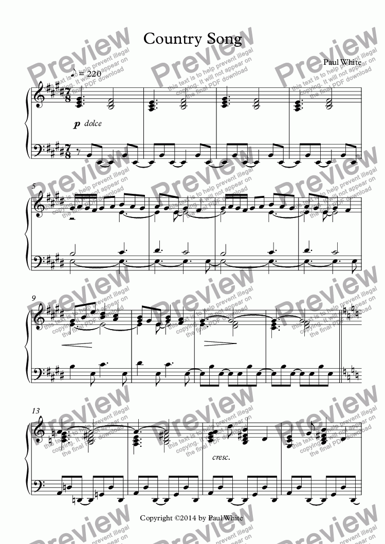 page one of Country SongASALTTEXT