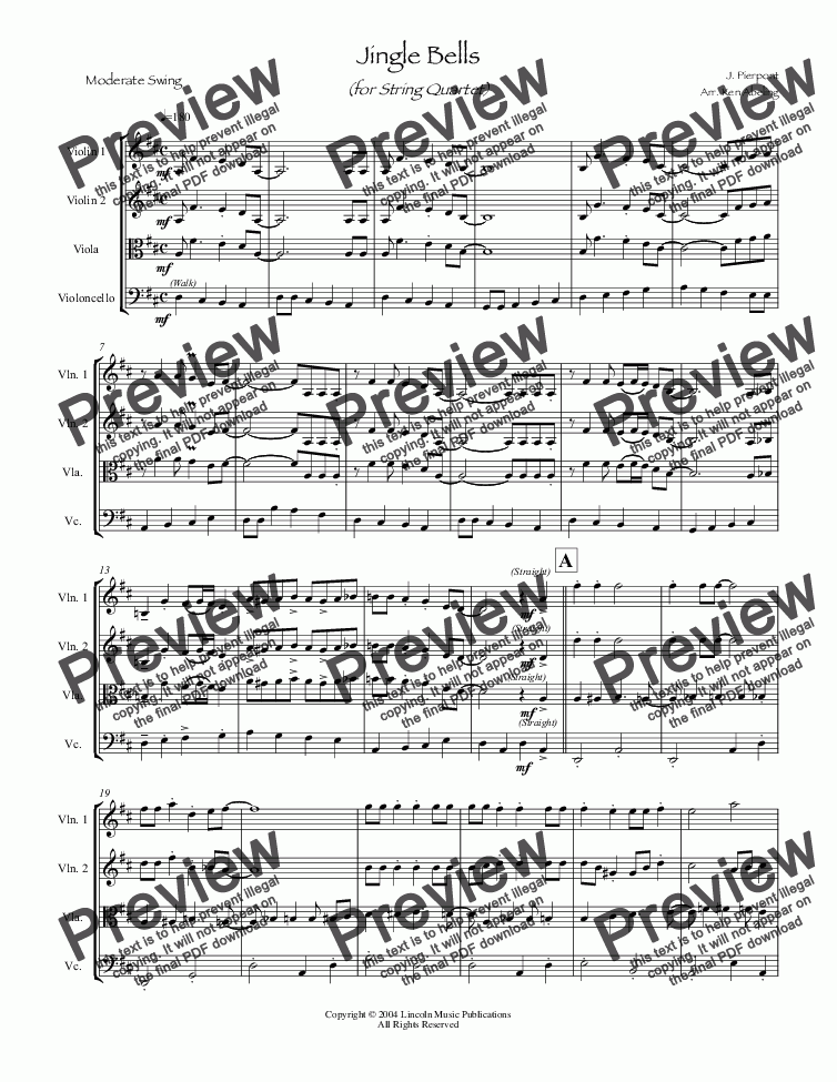 page one of Jazz Christmas - Jingle Bells (String Quartet)