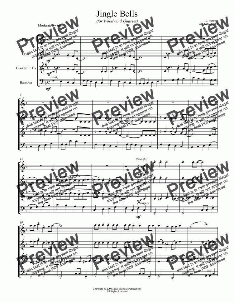 page one of Jazz Christmas - Jingle Bells (Woodwind Quartet)