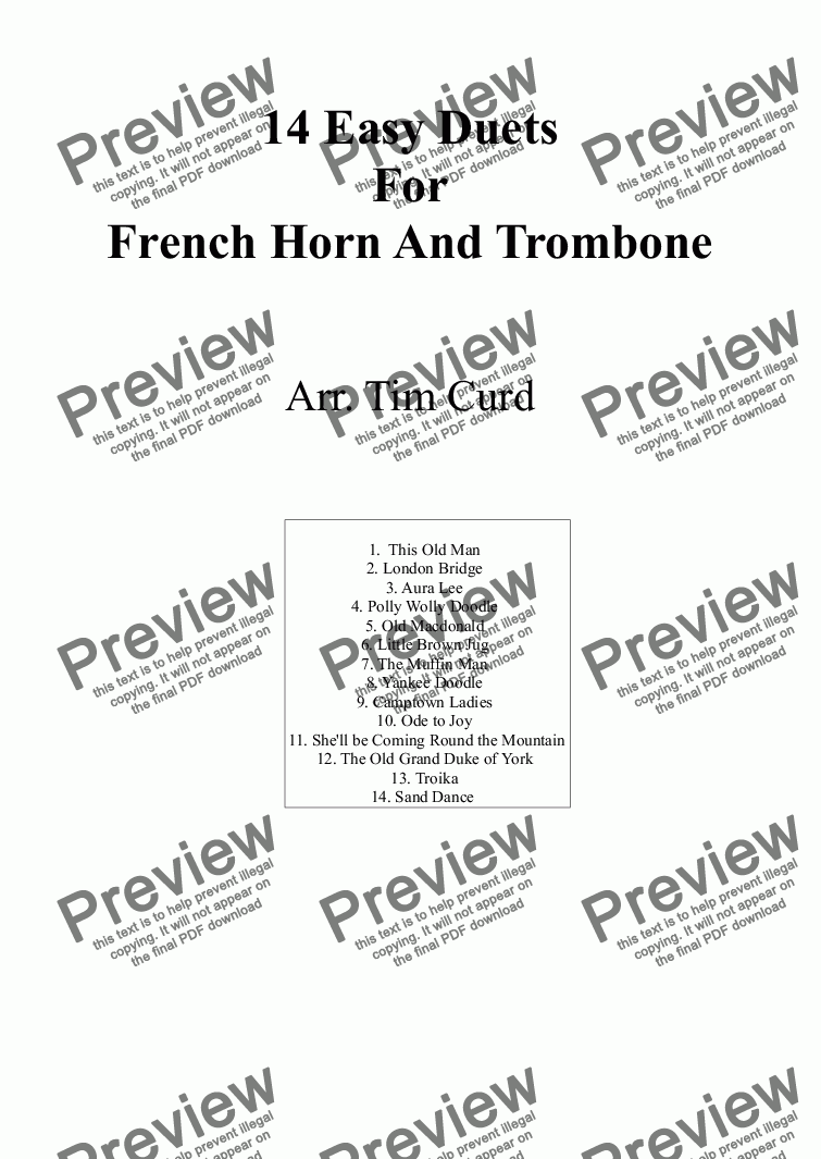 page one of 14 Easy Duets For French Horn And Trombone