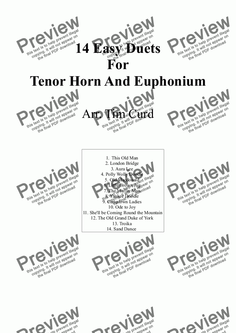 page one of 14 Easy Duets For Tenor Horn And Euphonium