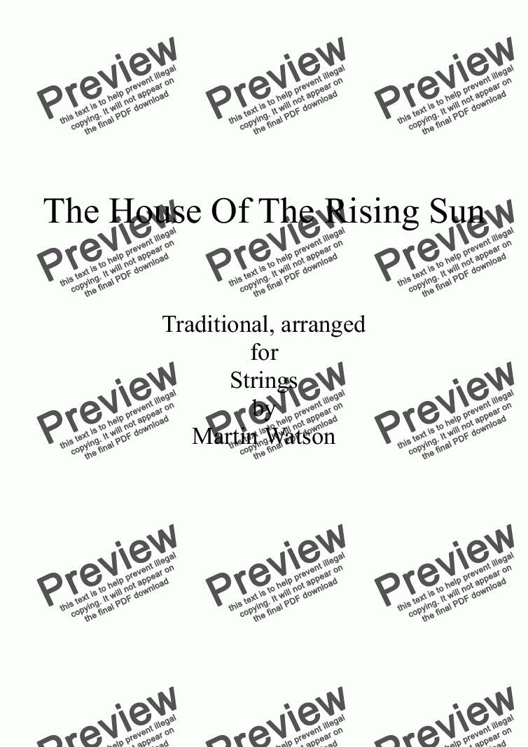 page one of House Of The Rising Sun for String Orchestra/Quartet