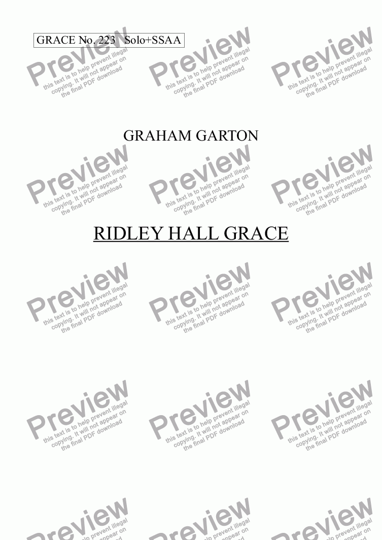 page one of GRACE - No.223 of 252 GARTON GRACES Mainly for  Female Voices but sometimes Mixed.'RIDLEY HALL GRACE' For SSAA+Alto Solo a cappella