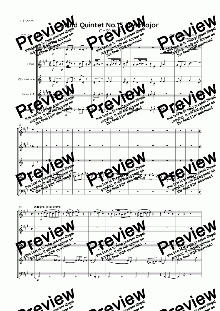 page one of Reicha - Wind Quintet No.15 in A