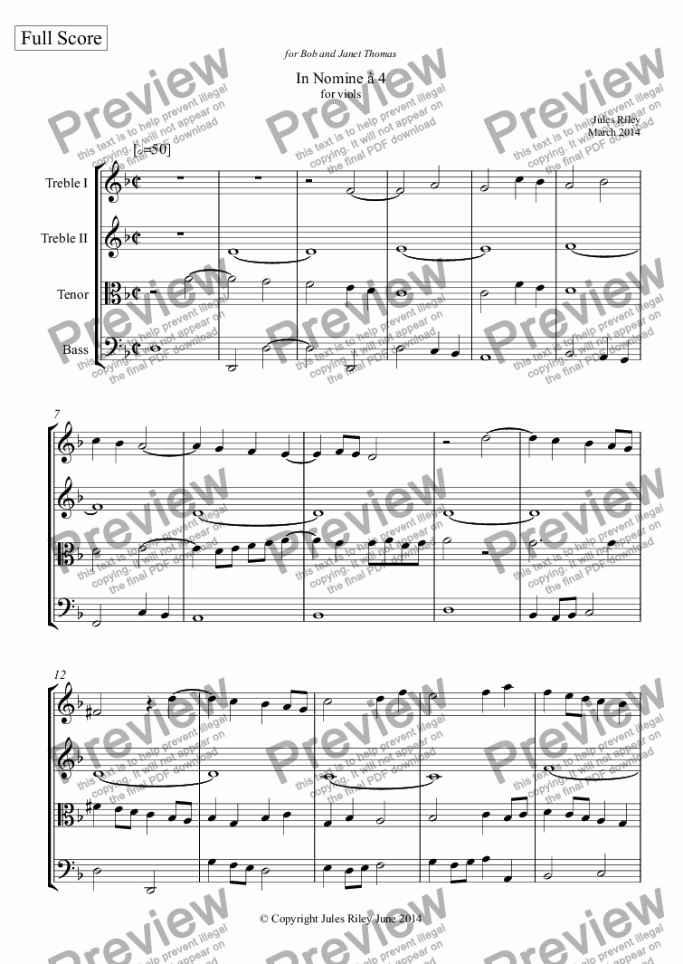 page one of In Nomine à 4 for viol consort [2014]