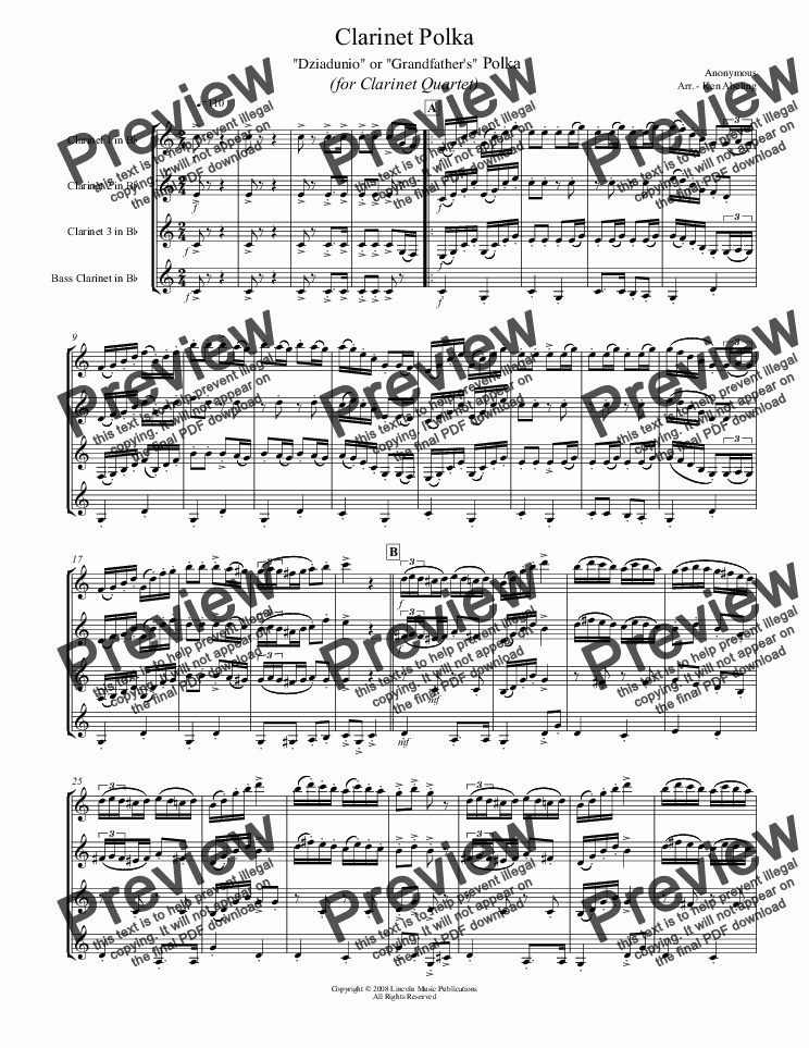 page one of Polka - Clarinet Polka (for Clarinet Quartet)