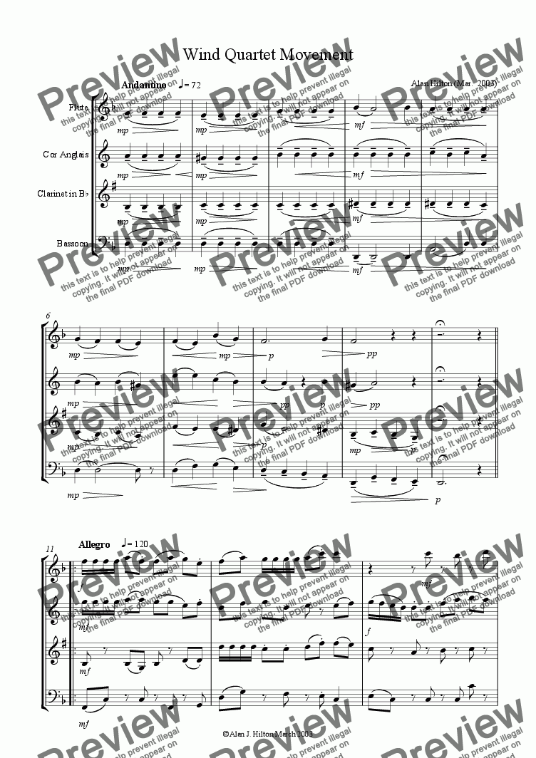 page one of Wind Quartet movement