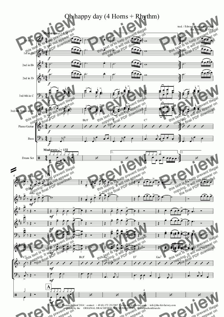 page one of Oh happy day (4 Horns + Rhythm) - Jazz Band
