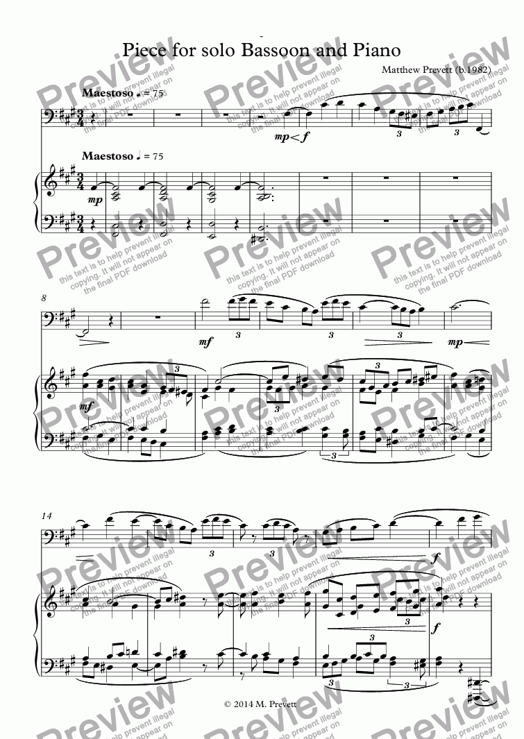 page one of Piece for solo Bassoon and Piano
